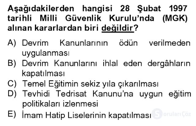 Türk Siyasal Hayatı Bahar Dönemi Final Final 12. Soru