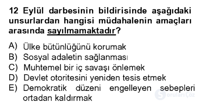 Türk Siyasal Hayatı Bahar Dönemi Final Final 16. Soru