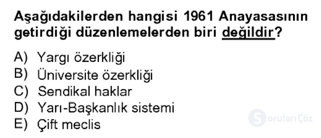 Türk Siyasal Hayatı Bahar Dönemi Final Final 17. Soru