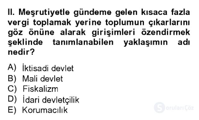 Türk Siyasal Hayatı Bahar Dönemi Final Final 19. Soru