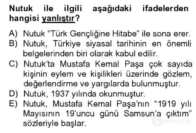 Türk Siyasal Hayatı Bahar Dönemi Final Final 3. Soru