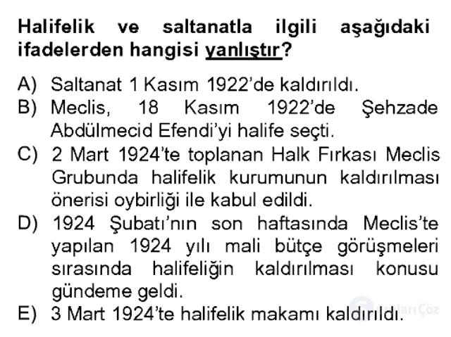 Türk Siyasal Hayatı Bahar Dönemi Final Final 4. Soru