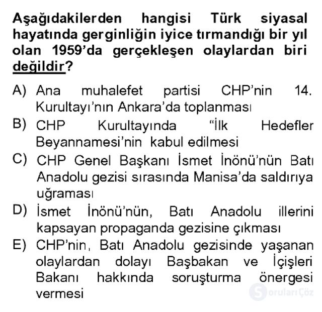Türk Siyasal Hayatı Bahar Dönemi Final Final 5. Soru