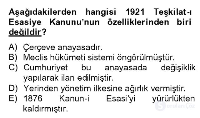 Türk Siyasal Hayatı Bahar Dönemi Final Final 7. Soru