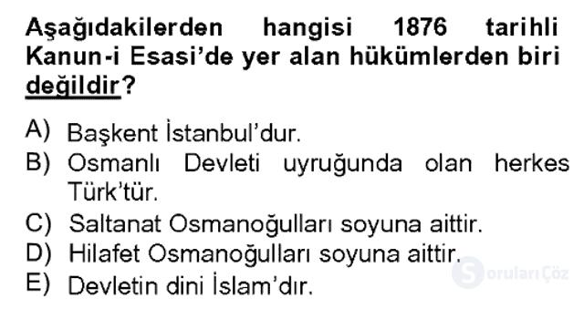 Türk Siyasal Hayatı Bahar Dönemi Final Final 8. Soru