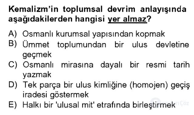Türk Siyasal Hayatı Bahar Dönemi Final Final 9. Soru