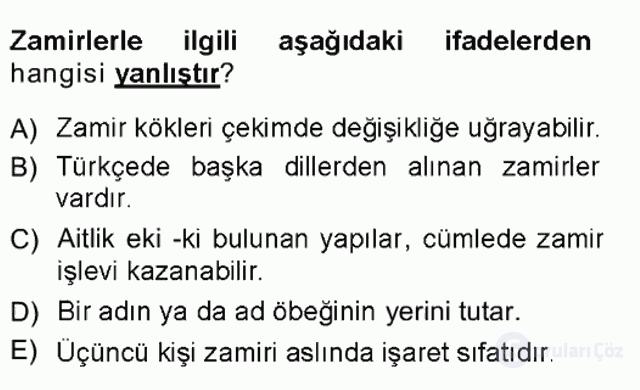 Türk Dili I Tek Ders 10. Soru