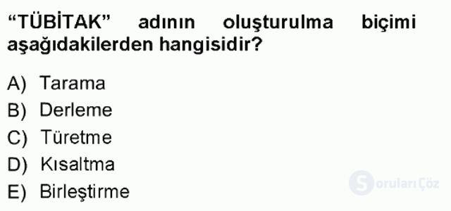 Türk Dili I Tek Ders 11. Soru