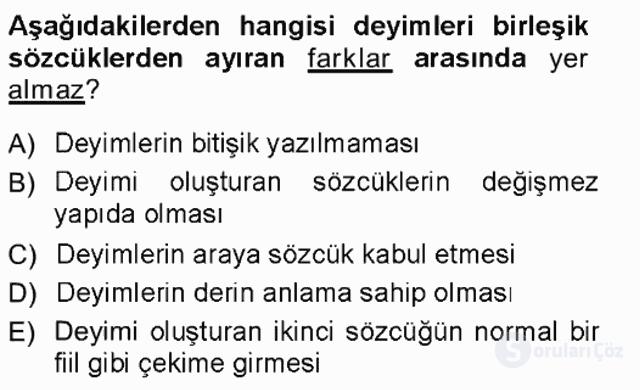 Türk Dili I Tek Ders 12. Soru