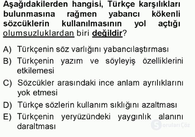 Türk Dili I Tek Ders 16. Soru