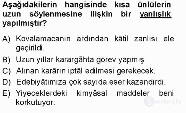 Türk Dili I Tek Ders 18. Soru