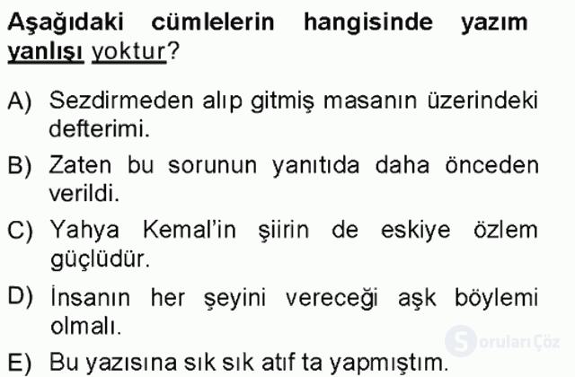 Türk Dili I Tek Ders 19. Soru