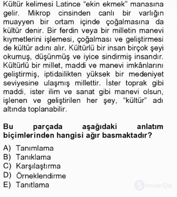 Türk Dili II Tek Ders 1. Soru