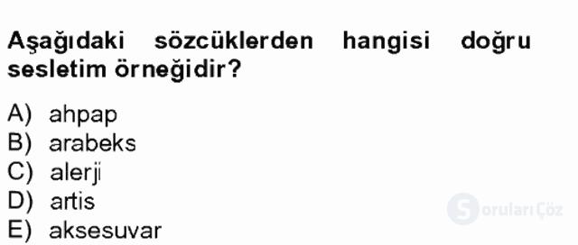 Türk Dili II Tek Ders 20. Soru