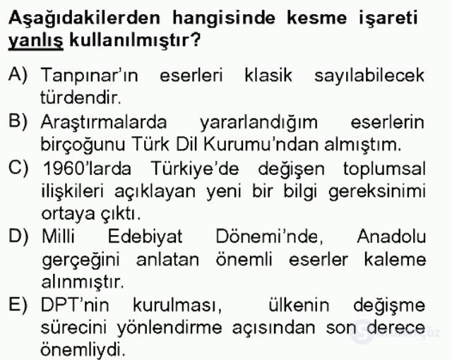 Türk Dili II Tek Ders 3. Soru