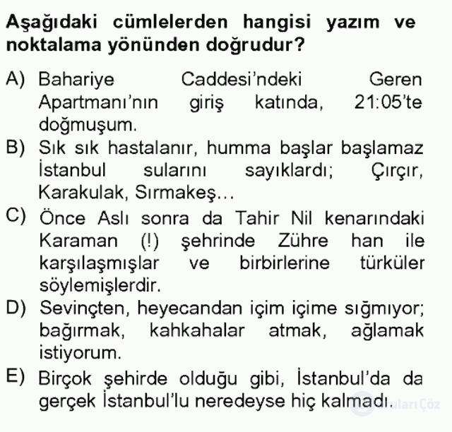Türk Dili II Tek Ders 4. Soru