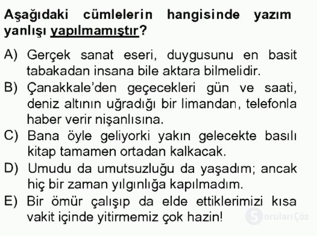 Türk Dili II Tek Ders 5. Soru