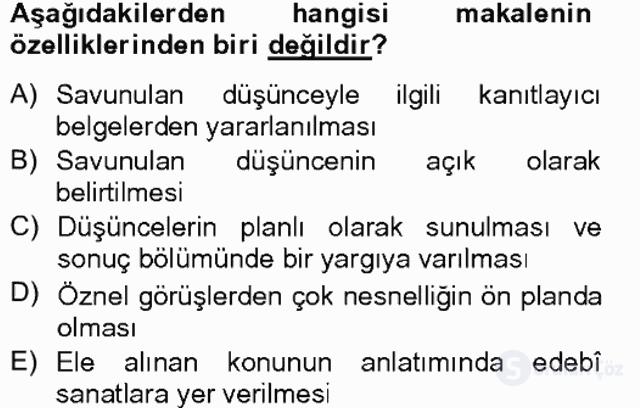 Türk Dili II Tek Ders 8. Soru
