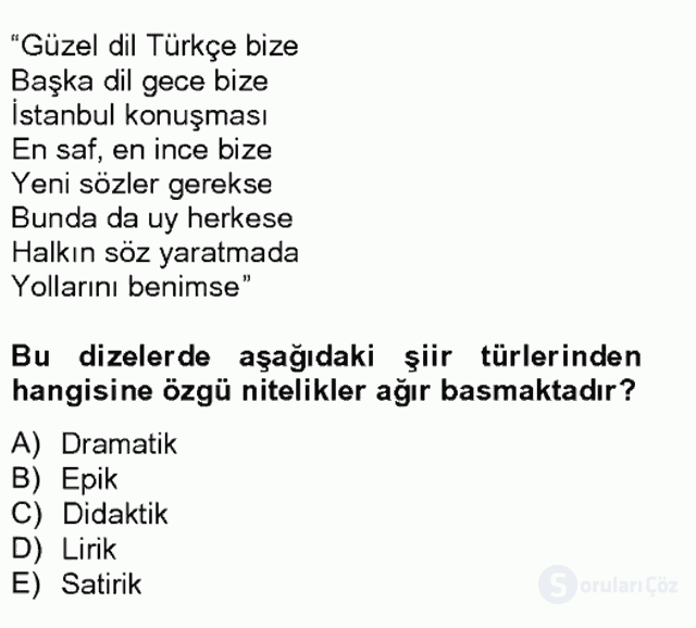 Türk Dili II Tek Ders 9. Soru