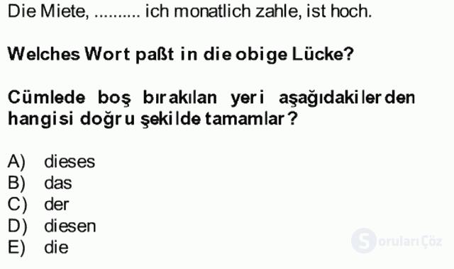 Almanca II Bütünleme 11. Soru
