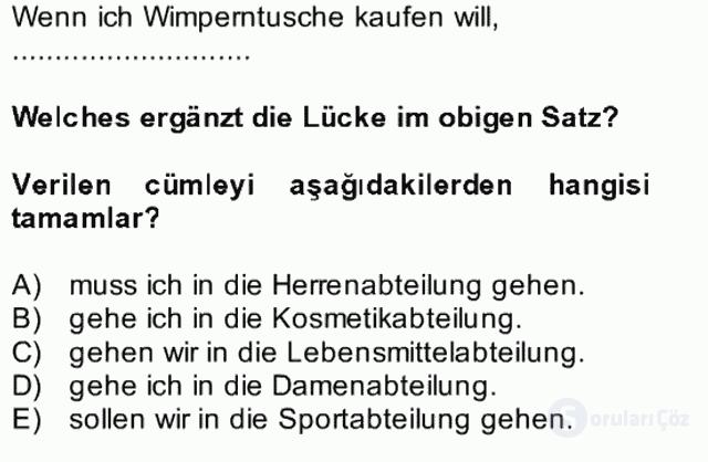 Almanca II Bütünleme 15. Soru
