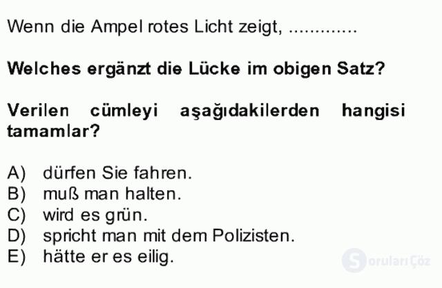 Almanca II Bütünleme 21. Soru
