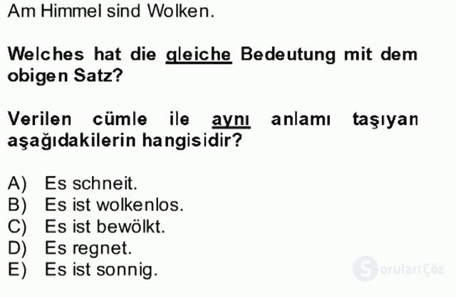 Almanca II Bütünleme 23. Soru