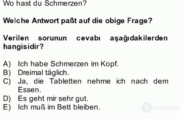 Almanca II Bütünleme 24. Soru