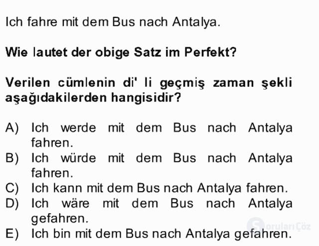 Almanca II Bütünleme 25. Soru