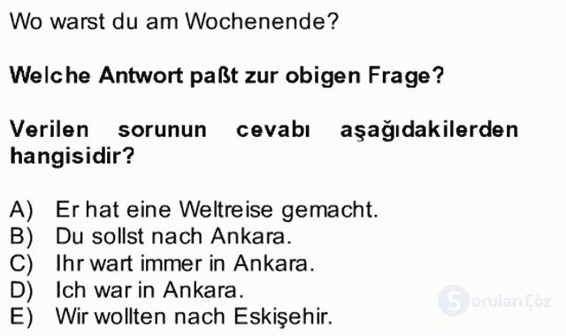 Almanca II Bütünleme 26. Soru