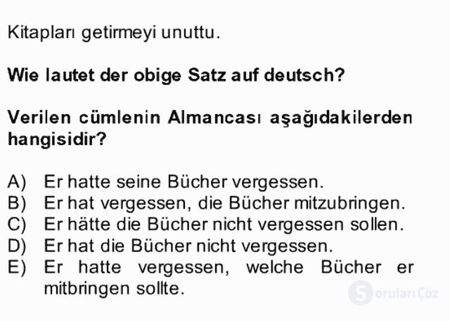 Almanca II Bütünleme 28. Soru