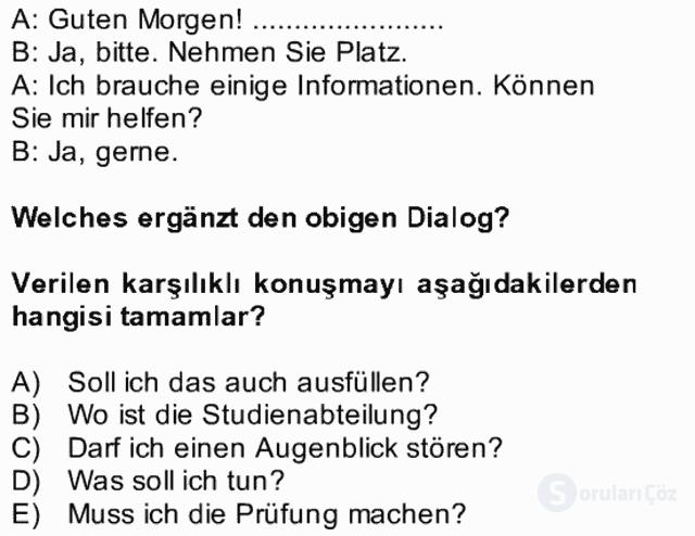 Almanca II Bütünleme 4. Soru