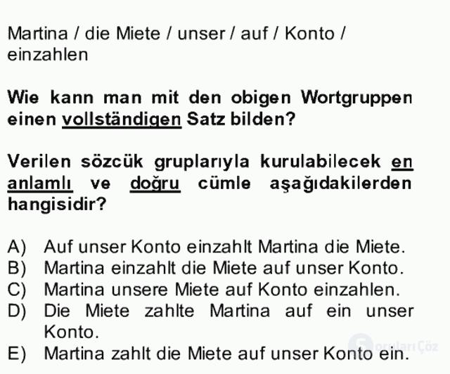 Almanca II Bütünleme 5. Soru