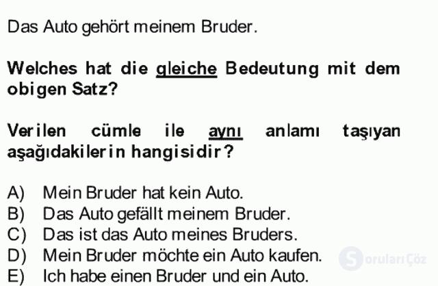 Almanca II Bütünleme 6. Soru