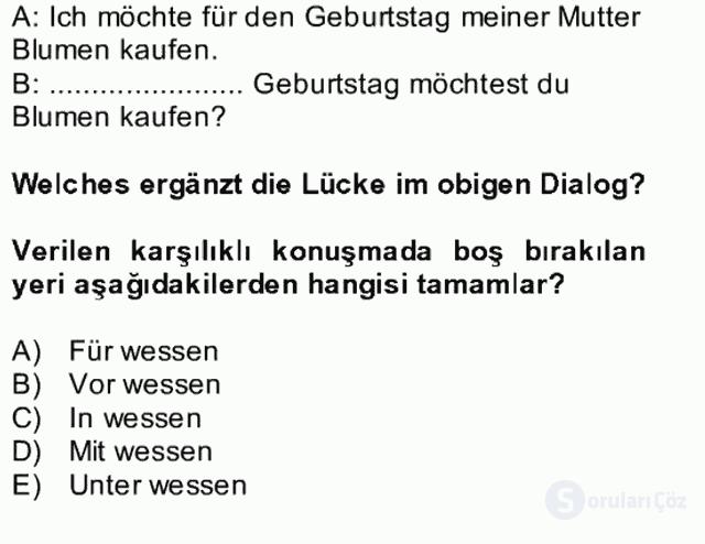 Almanca II Bütünleme 7. Soru