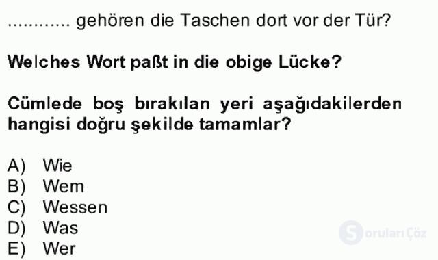 Almanca II Bütünleme 8. Soru