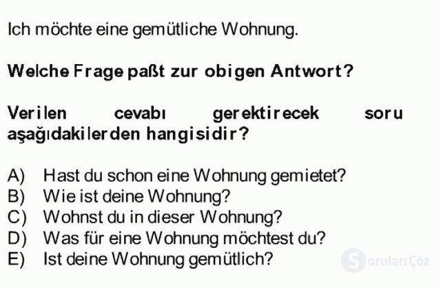 Almanca II Bütünleme 9. Soru